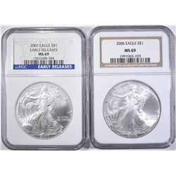 2006 & 2007 AMERICAN SILVER EAGLES, NGC MS-69