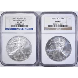 2007-W & 2010 AMERICAN SILVER EAGLES, NGC MS-69