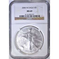 2006-W AMERICAN SILVER EAGLE, NGC MS-69