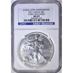 2011 25th ANNIV. SILVER EAGLE, NGC MS-69