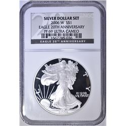 2006-W 20th ANNIV. SILVER EAGLE NGC PF-69 U.C.