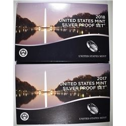 2017 & 18 U.S. SILVER PROOF SETS ORIG PACKAGING