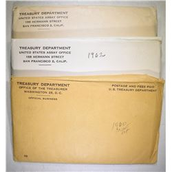 1960 & 2-62 U.S. MINT UNC SETS ORIG ENVELOPES