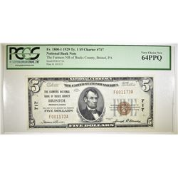 1929 TYPE 1 $5 NATIONAL CURRENCY PCGS 64 PPQ