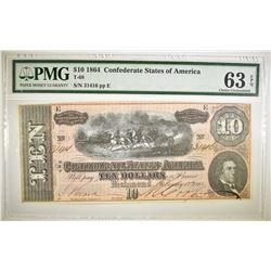 1864 $10 CONFEDERATE STATES OF AMERICA PMG 63 EPQ