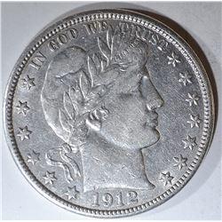 1912-D BARBER HALF DOLLAR AU