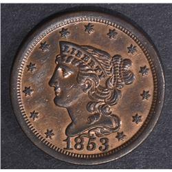 1853 HALF CENT, CH BU RB NICE