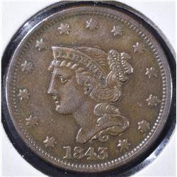 1843 LARGE CENT SMALL LETTERS AU