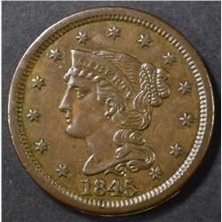 1845 LARGE CENT AU/BU
