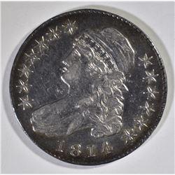 1814 BUST HALF DOLLAR, AU+ a few marks rev