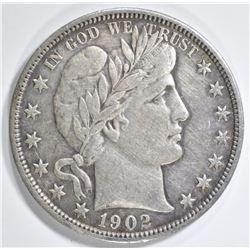 1902 BARBER HALF DOLLAR XF