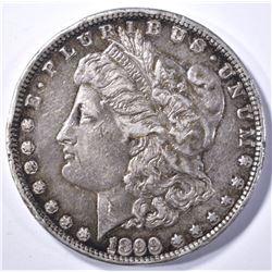1899-S MORGAN DOLLAR, AU with rim bump