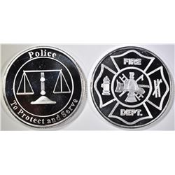 POLICE & FIRE 1oz .999 SILVER ROUNDS