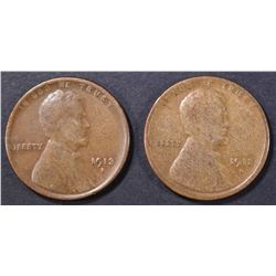 1912-S VG & 13-S FINE LINCOLN CENTS
