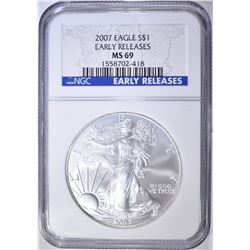 2007 AMERICAN SILVER EAGLE, NGC MS-69