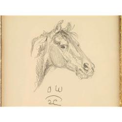 Original Olaf Wieghorst Pencil Sketch