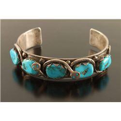 Zuni Sterling & Turquoise Snake Cuff