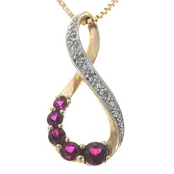 Ladies Gold Red Ruby Diamond Necklace