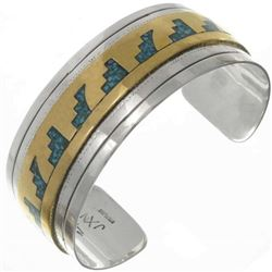 Inlaid Gold Silver Turquoise Unisex Cuff