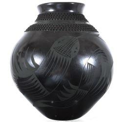 Large Black Textured Mata Ortiz Pottery