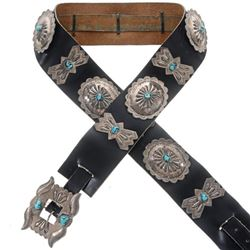 Old Pawn Silver Turquoise Concho Belt