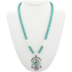 Navajo Turquoise Silver Pendant Necklace