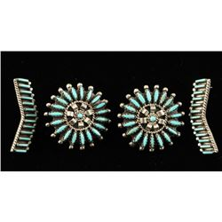 Lot of 2 Pairs Sterling & Turquoise Earrings