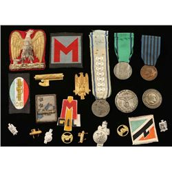 Lot of WWII Italian Fascist Medals, Patches &