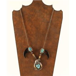 Turquoise, Silver & Bear Claw Necklace