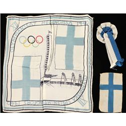 Olympic WWII Silk Scarf with Flag & Ribbon
