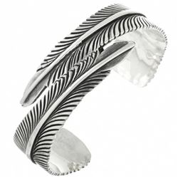 Native American Silver Feather Bracelet