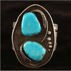 Old Pawn Navajo Turquoise & Sterling Cuff