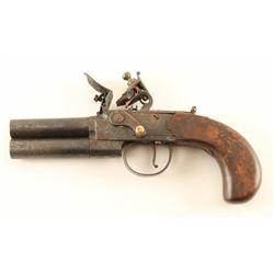 English Proofed Over/Under Flintlock Pistol