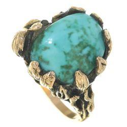 Vintage Ladies 14K Gold Turquoise Ring
