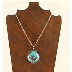Sterling Silver & Turquoise Inlaid Necklace