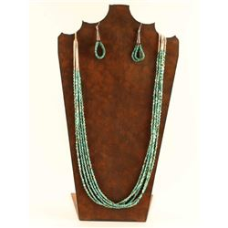 Five Strand Turquoise & Heishi Necklace