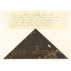 Deck plate from USS Missouri Battleship