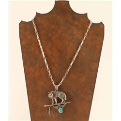 Sterling Silver & Turquoise Wolf Pendant