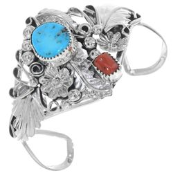 Turquoise Coral Ladies Silver Bracelet