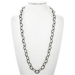 Inlaid Silver Black Onyx Link Fashion