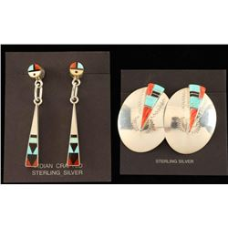 Two Pairs of Zuni Inlaid Earrings