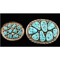 His & Hers Sterling & Turquoise Buckles