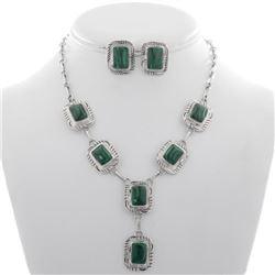 Navajo Malachite Silver Y Necklace Set