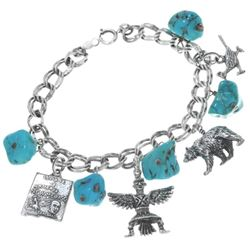Ladies Silver Turquoise Nugget Charm