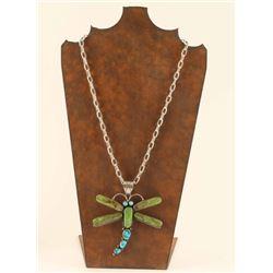 Large Turquoise & Gaspeite Dragonfly Pendant