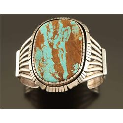 Large Bisbee Turquoise and Sterling Silver Cuff