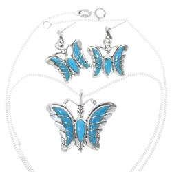 Ladies Turquoise Silver Butterfly Pendant