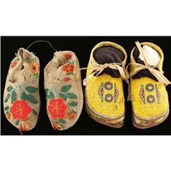 Lot of 2 Pairs Beaded Moccasins