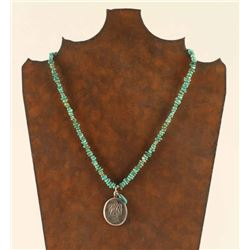 Beaded Turquoise Necklace with Sterling Pendant