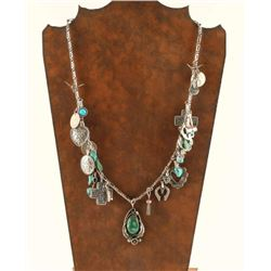 Sterling Silver & Turquoise Charm Necklace by